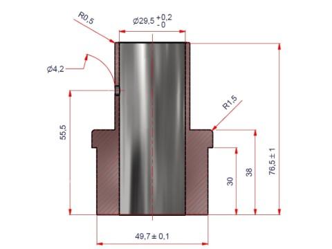 Applikation für Kundendisplay - Rohrdurchmesser 54mm für ART DEV LD222