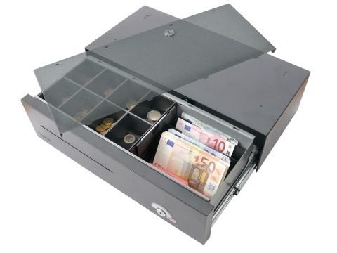 4522 E-KE-D - elektrische Geldschublade (kurze Einbautiefe), Universal-Modell, 4 Banknotenfächer (schräg), 8 Münzbehälter, grau