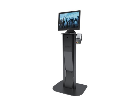 Kiosk Floor - Kiosk-Standsystem (Bodenplatte + Kiosk-Halter), Höhe 101cm, Druckervorbereitung, EC-Terminal-Vorbereitung für Apexa, schwarz