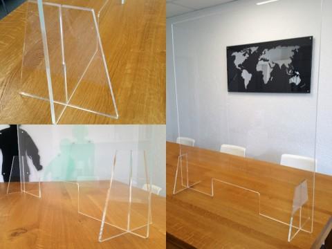 Hygieneschutz aus Acryglas - glasklar, 800 x 800 x ! 6 ! mm, mit Durchreiche