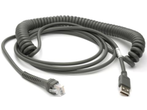 USB-Kabel - (Serie A Verbindung, 15ft., spiral) für DS6700, LS3408, LS3578 und DS9808