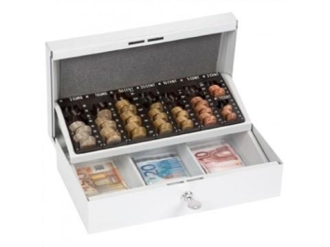 Stahlkassette - 703 ST, lichtgrau mit Polster, 7 Einzelmünzbehältern und 3 Banknotenfächern