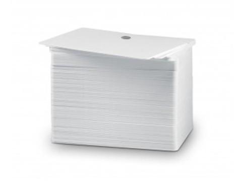 Plastikkarte Premium - 30mil, 0.76mm (blanko), weiss, mit Rundloch lange Seite (Lanyards) für Kartendruck ++Abgabe nur als VPE 500ter Pack++