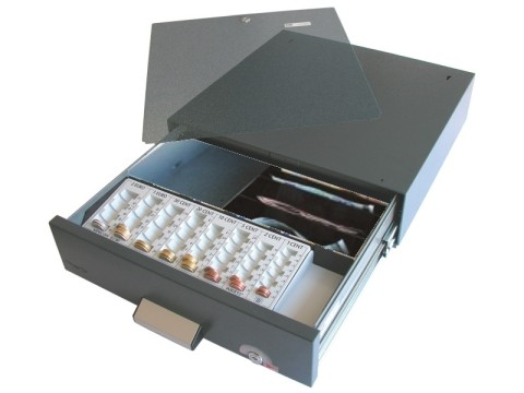 SU41 - Unterbau-Kassenlade mit Sicherheitsalarmverschluss, 4 Schrägfächer für Banknoten, Zählbretteinsatz Typ MINI375, Zylinderschloss, anthrazit