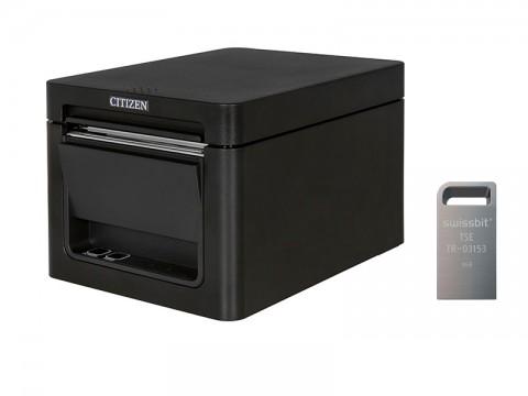CT-E351 - Bondrucker, thermodirekt, Frontausgabe, 203 dpi, USB + RS232, schwarz ***inkl. Swissbit TSE USB-Stick***