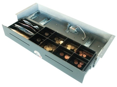 54 D - **Manuelle Öffnung** Geldschublade mit Druckverschluss(touch) (kurze Einbautiefe), Unterbau-Modell, 4 Banknotenfächer (schräg), 8 Münzbehälter