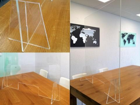 Hygieneschutz aus Acryglas - glasklar, 1000 x 800 x ! 6 ! mm, OHNE Durchreiche