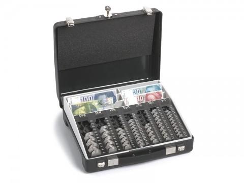 Geldtransportkoffer - REKORD 860 PK/VS für Schweizer Franken mit 7 Einzelmünzbehältern, 6 Banknoten-Steilfächern und verschließbaren Schnappüberwürfen