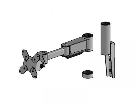 SpacePole Mount - Regal-Halterung für Standrohr (SP2), schwarz, inkl. Winkel-Arm mit VESA 75/100 Halterung und Verschlussring