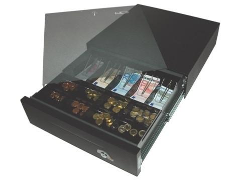 42 E-KE-D - elektrische Geldschublade, Universal-Modell, 5 Banknotenfächer (flach), 8 Münzbehälter, Eisengrau