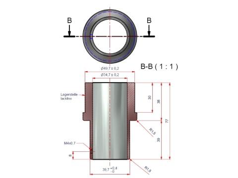 Applikation für Kundendisplay - Rohrdurchmesser 54mm für Birch DSP-800