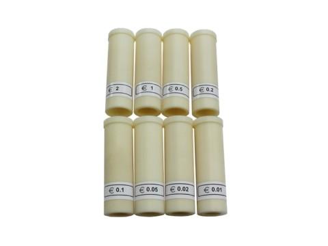 Röhren (8 Stück) zum Aufnehmen von Papierhülsen zum Abhülsen von Euromünzen für CCE 4200, CCE 4300, CCE 4400 und CCE4500