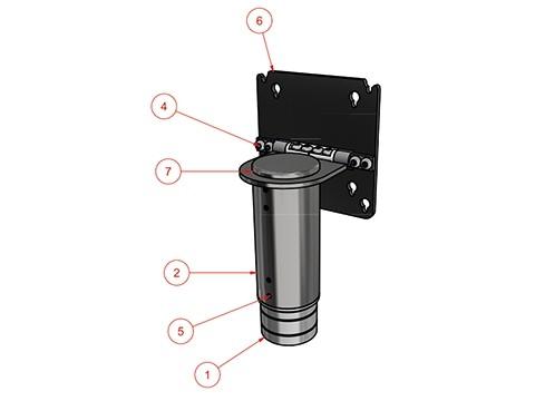 Bildschirmhalterung - VESA 75/100, Rohrdurchmesser 54mm, Höhe 110mm, Länge des Auslegers 40mm, kippbar