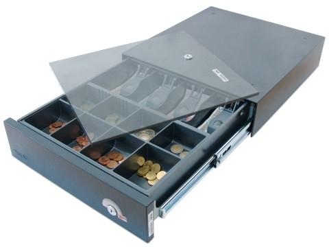 38EX-KE-D - Elektrische Geldschublade, Aufstell-/Unterbau-Modell, herausnehmbarer Kasseneinsatz KE 84-3-D, anthrazitgrau