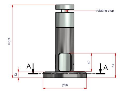 Sockel - Rohrdurchmesser 40mm, Höhe 180mm, Kabelausschnitt oben für FlexiStand
