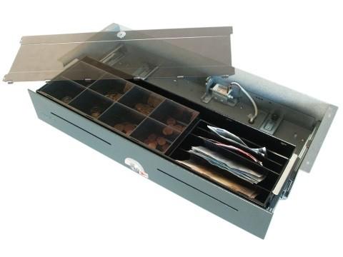 54 E-KE-D- elektrische Geldschublade (kurze Einbautiefe) mit Deckel, Unterbau-Modell, 4 Banknotenfächer (schräg), 8 Münzbehälter, Anthrazitgrau
