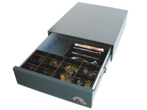 35E - elektrische Geldschublade, Unterbau-Modell, 4 Banknotenfächer (schräg), 8 Münzbehälter, Anthrazitgrau