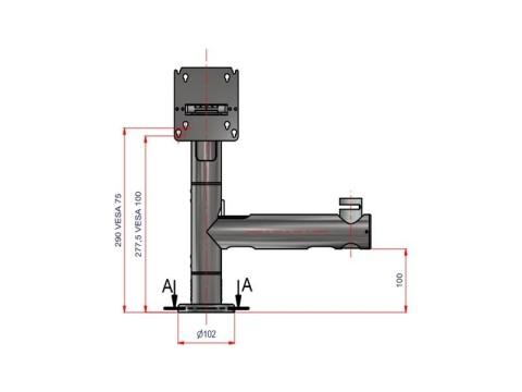 Flexi Stand Bandit - Halterung VESA 75/100 und Arm für 40mm Applikation