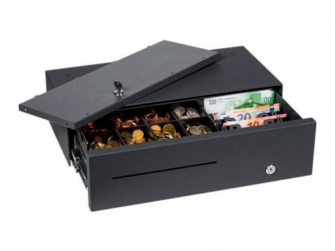 MDS 45 - Metall-Kassenschublade, Kurzhub, 8 verwiegbare Münzfächer, 4 Notenfächer (stehend), inkl. abschließbarem Deckel (gleichschließend), anthrazit