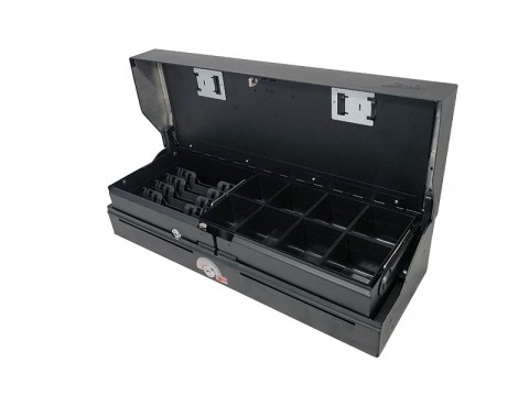 46ES7-KE-D - Elektrische Geldlade (Sprungdeckel), 5 Banknotenfächer (schräg), 8 verwiegbare Einzelmünzbehälter