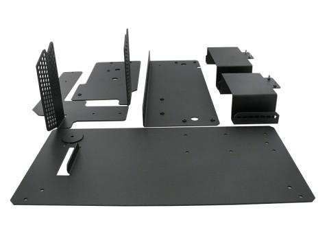 Justierbarer Metall-Auffangbehälter für geschnittene Etiketten (nutzbar für Rollen- und Rotationsmesser), inkl. Druckergrundplatte für B-EX4 und B-EX6