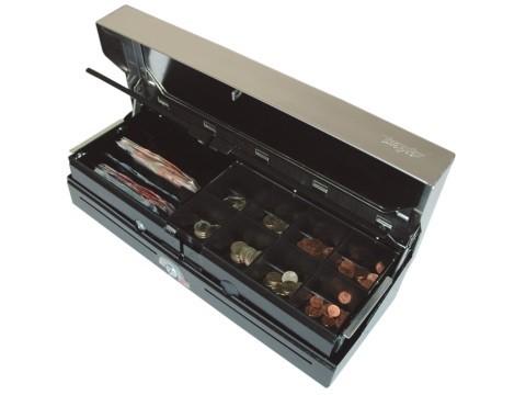 46 ES5-KE-D - Elektrische Geldlade (Sprungdeckel), 6 Banknotenfächer (schräg), 8 Münzgeldmulden, schwarz, Deckel schwarz