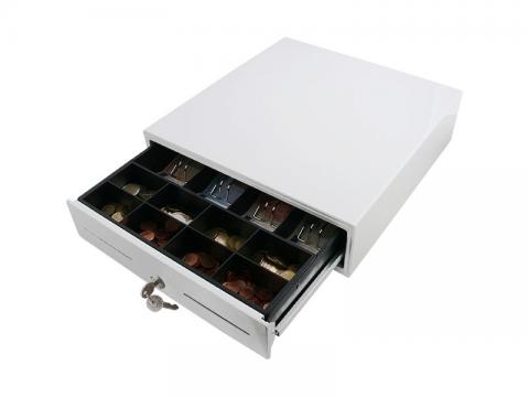 AC-3330 - Einstiegs-Kassenlade Baby Plus - glänzend weiß RAL9003 - EPSON-Anschluss (RJ12), anpassbarer Münzeinsatz (C3330)