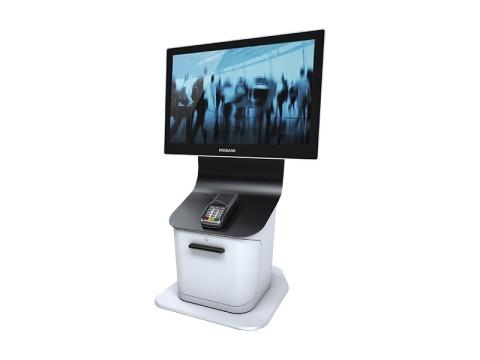 Desktop Kiosk - Kiosk-Standsystem (Bodenplatte + Kiosk-Halter) , Höhe 63cm, Druckervorbereitung, EC-Terminal-Vorbereitung, VESA-Adapter für Apexa