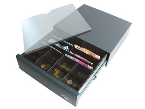 SU35 - Kassenlade mit Sicherheitsalarmverschluß, anthrazitgrau, 4 Schrägfächer, Zählbretteinsatz(IN=Inkiess)(SU=Unterbau)